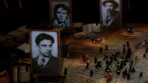 Russian literary giants are commemorated as part of the closing ceremony
