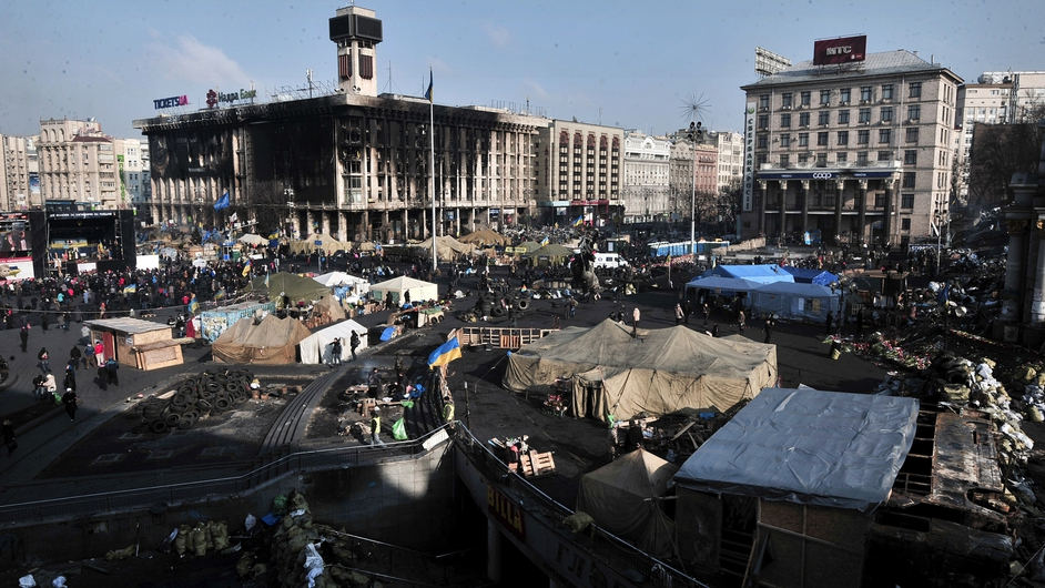 A view of the anti-government protest camp at Kiev's Independence Square in Ukraine