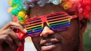 A Kenyan LGBT supporter protests against Uganda's anti-gay bill