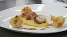 Loin of rabbit with potato mousseline and cauliflower fritters - Emma Clarke's signature dish from Heat 1 of MasterChef 2014