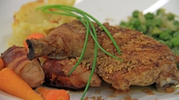 Roast Chicken Leg, Pan Fried Chicken Oysters, Gratin Dauphinoise - Roast Chicken Leg, Pan Fried Chicken Oysters, Gratin Dauphinoise, Braised Peas and Glazed Carrots with a Thyme Jus