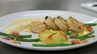 Stuffed ballotine of Chicken with potato + Courgette gratin, celeriac purée + green beans with smoked bacon - Rich Dales' key ingredient recipe from Heat 1 of MasterChef 2014