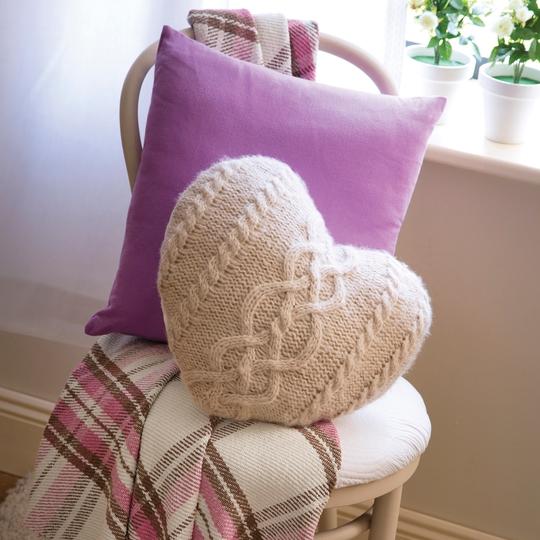 2PK Plain Dye Cushion Cover Lavender €4.90, Heart Cable Knit Cushion €10.00, Cotton Check