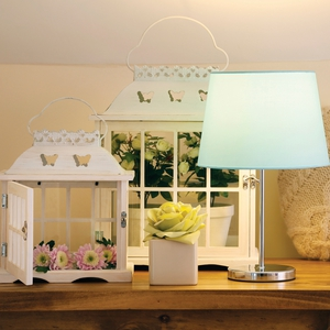 Butterfly lantern Med €15.00, Butterfly Lantern Large €29.50, Rose Pot €3.00, Heart Cushion, €10.00, Duck egg lamp shade €5.00