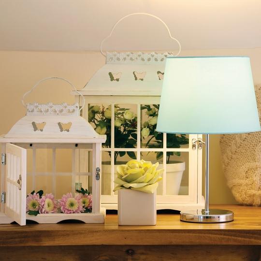 Butterfly lantern Med €15.00, Butterfly Lantern Large €29.50, Rose Pot €3.00, Heart Cushion, €10.00, Duck egg lamp shade €5.00