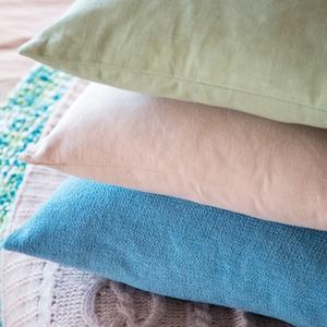 Chenille cushion duck egg €8, 2pk plain dye cushion cover green €4.90, 2pk plain dye cushion €4.90