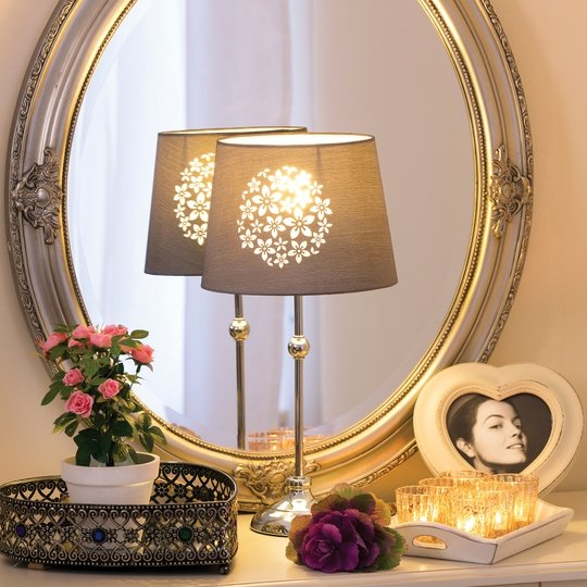 Maissance Oval Mirror €35.00, Heart Mirror Tray €12.00, Lamp €18.00, Heart Frame €5.00, Set of 6 Candle Holders & Tray €10.00,  Minature Potted Rose€5.00