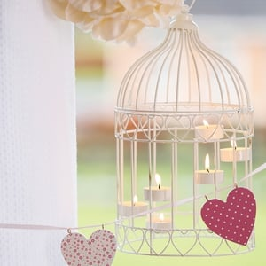 Rose Ball €4.00, T-Light Bird Cage €15.00, MDF Printed Bunting €10.00