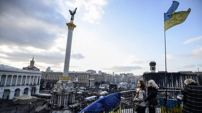 A view of a calm Independence Square in Kiev, after a week of clashes