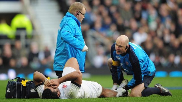 Billy Vunipola receiving treatment on the Twickenham pitch