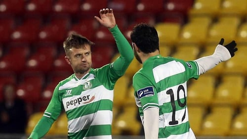 Stephen McPhail takes the plaudits after scoring from a free-kick in Shamrock Rovers' romp of Glentoran