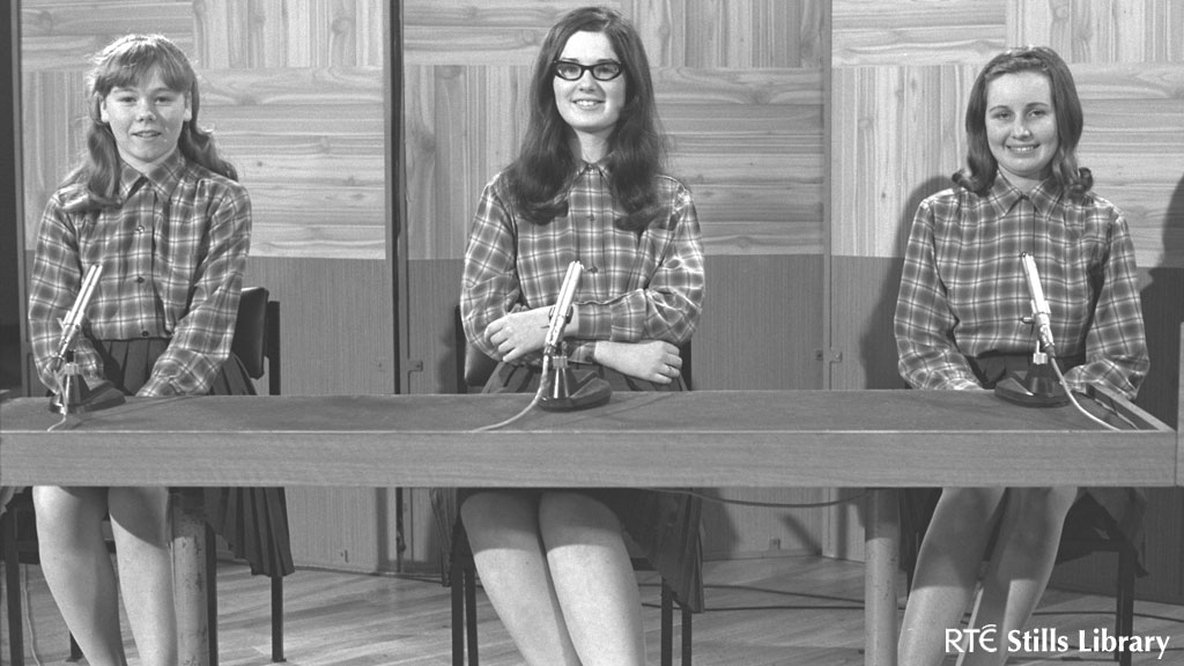 3 Teenage girls from Cross and Passion College, Kilcullen on schools quiz programme 'Mark Time' in 1968. But who are they?