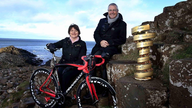 Stephen Roche with Northern Ireland Tourism Minister Arlene Foster