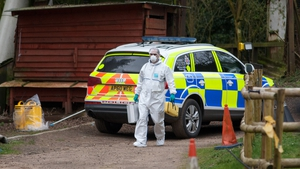 Police at the scene at Keepers Cottage Stud where the bodies were discovered