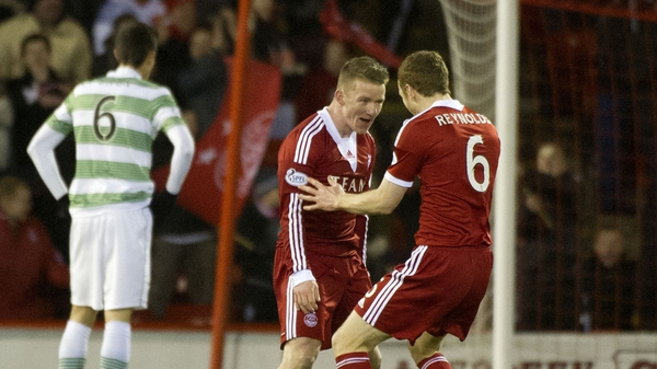 Aberdeen's Jonathan Hayes celebrates after opening the scoring