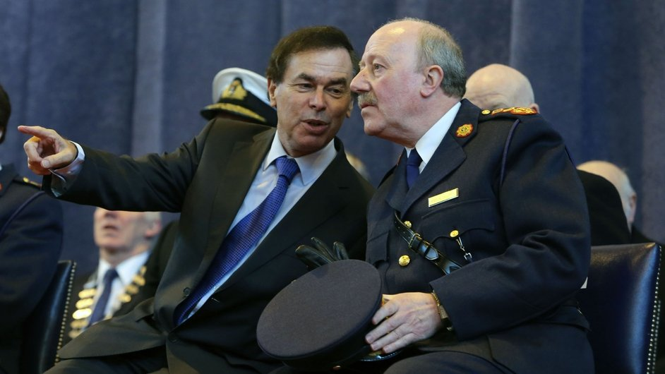 Mr Shatter with former garda commissioner Martin Callinan, who stood down in March