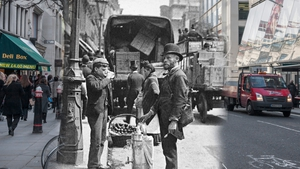 A street seller of sherbert and water is photographed on Cheapside completely unaware of the camera (Pic: The Estate of Paul Martin)
