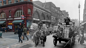 A street scene in London's Covent Garden with the underground station and a horse and cart in the background (Pic: Museum of London)