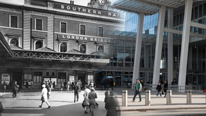 A view of the forecourt of the Southern Railway's terminus at London Bridge (Pic: Museum of London)