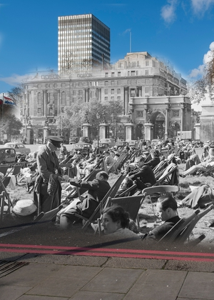 People sunbathing in Hyde Park in 1956 with Marble Arch and the Odeon cinema in the background (Pic: Museum of London)