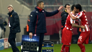 David Moyes could only look on as Olympiacos took control of first leg in Athens