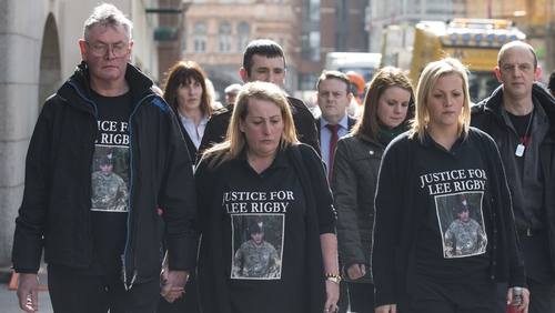 Relatives of Lee Rigby arriving at court, (L-R) stepfather Ian Rigby,  mother Lyn Rigby and sister Sara McClure
