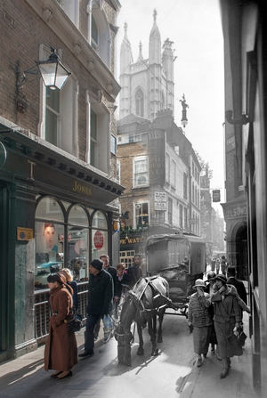 A view of Bow Lane, off Cheapside in the City of London, looking south to the crossing with Watling Street and St Mary Aldermary in the middle distance (Pic: Museum of London)