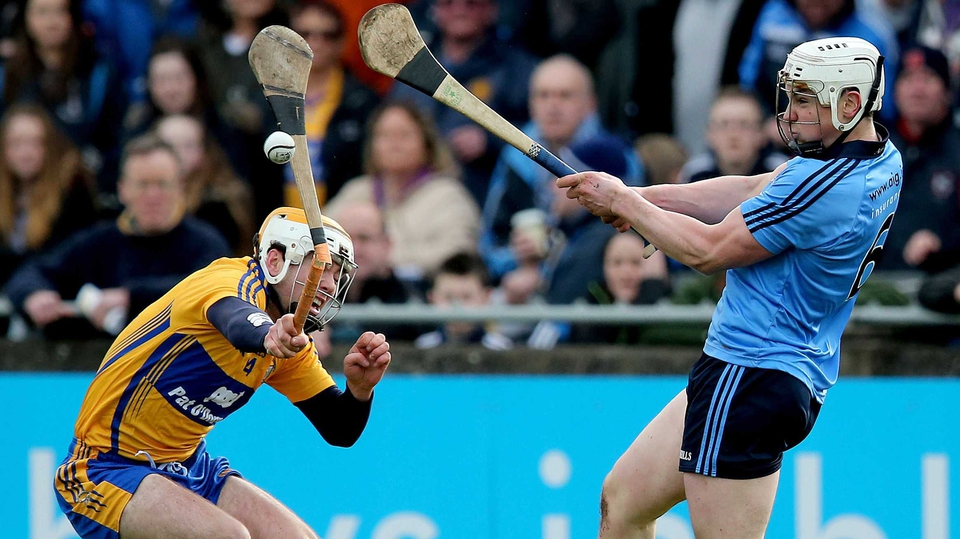Dublin's Liam Rushe with Conor McGrath of Clare