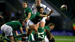 Ireland's Natasha Hunt passes the ball against England
