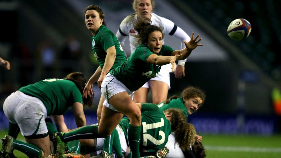 Ireland's Natasha Hunt passes the ball against England