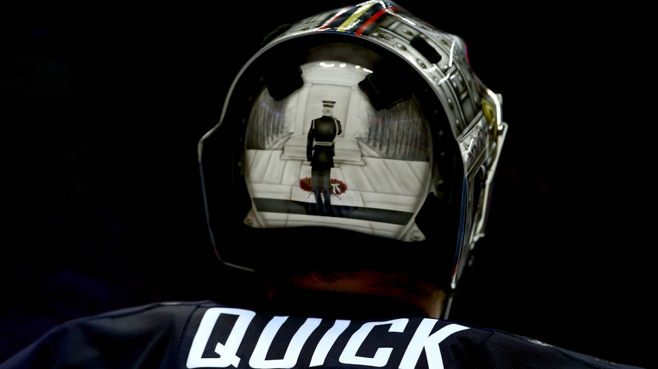 Jonathan Quick of the United States during the Olympic Men's Ice Hockey Semi-final against Canada