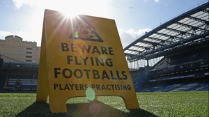 Sign on the pitch prior to the Premier League match between Chelsea and Everton at Stamford Bridge
