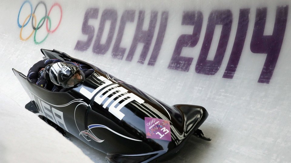 The United States Team 2 make a run during the Men's Four-Man Bobsleigh in Sochi
