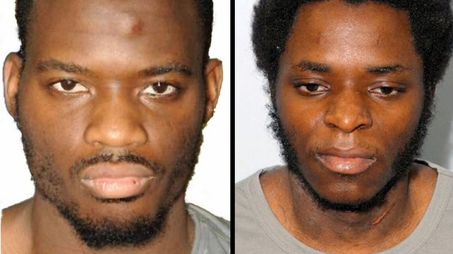 "Michael Adebolajo (left) and Michael Adebowale (right) The murderers yelled ""Allahu akbar"" and were pinned to the ground by security officers in a violent struggle in the dock"