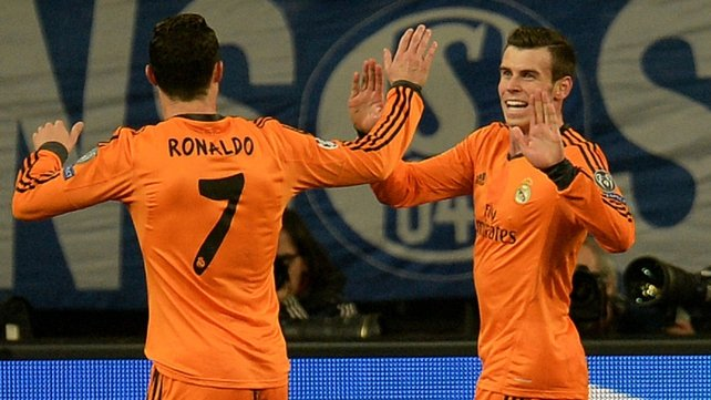Brace boys Gareth Bale and  Cristiano Ronaldo celebrate in Gelsenkirchen