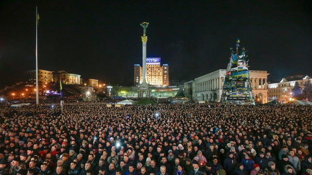 Thousands of people gathered in Independence Square in Kiev tonight (Pic: EPA)