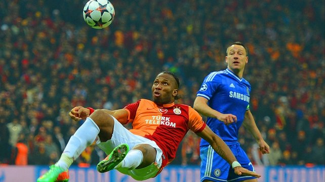 Galatasaray striker Didier Drogba attempts the spectacular against his old club