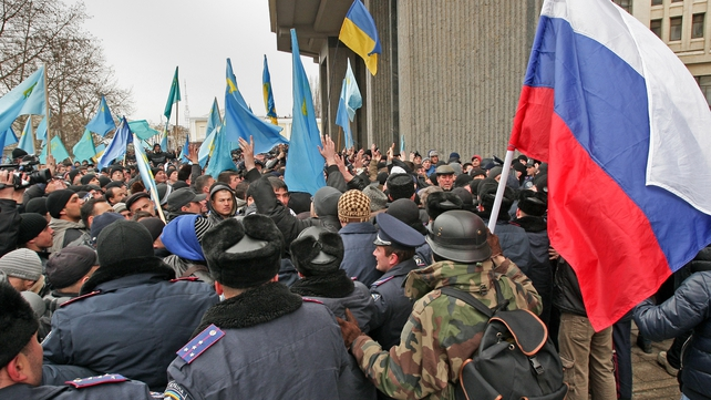 Opposing sides clashed at the parliament building in Crimea yesterday