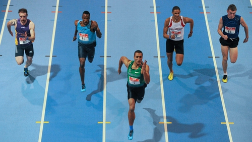 Olympic and World decathlon champion Ashton Eaton (centre) won the 60m in 6.69