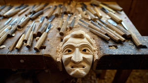 A wooden mask being prepared for German Carnival, locally called Fastnacht or Fasnet