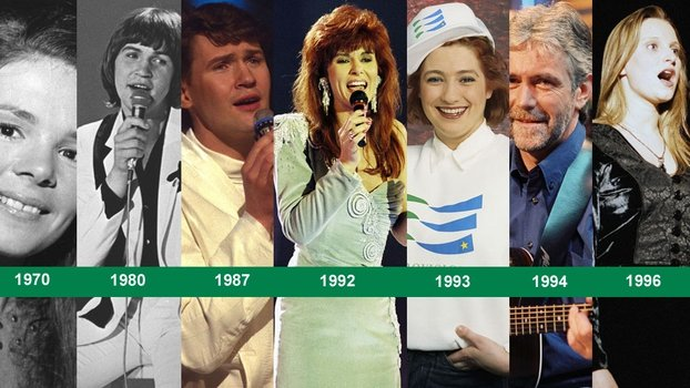 Eurovision Winners for Ireland: Left to right - Dana (1970), Johnny Logan (1980, 1987), Linda Martin (1992), Niamh Kavanagh (1993), Charlie McGettigan (1994), and Eimear Quinn (1996).