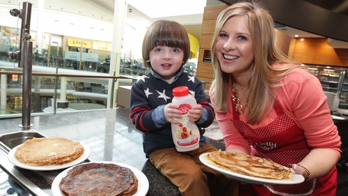 TV presenter Laura Woods and her son Ben launch the Betty Crocker World Pancake Stacking Record attempt