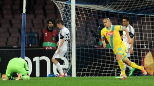 Gokhan Inler of Napoli celebrates his side's decisive final goal