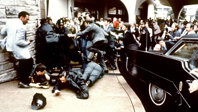 This photo shows reaction during the assassination attempt on then US president Ronald Reagan