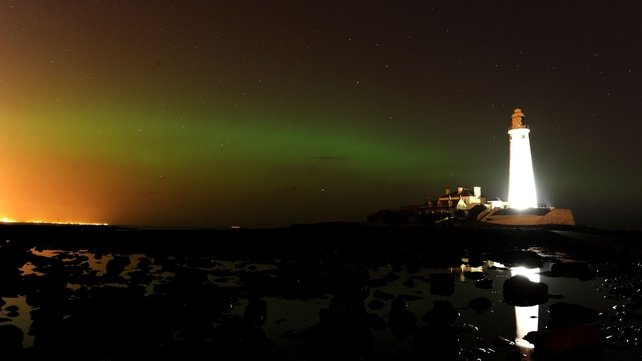 The Aurora Borealis seen at St Mary's Lighthouse and Visitor Centre in Whitley Bay in Tyneside