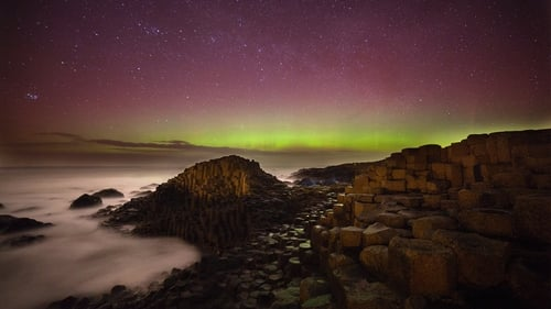 The Aurora Borealis pictured over the Giant's Causeway