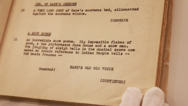 Orson Welles' working draft script for Citizen Kane is displayed at Sotheby's, London
