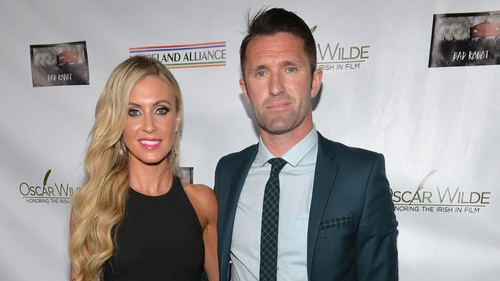 Claudine and Robbie Keane rocked up on the green carpet