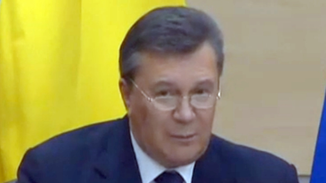 Former Ukrainian president Viktor Yanukovych speaking today