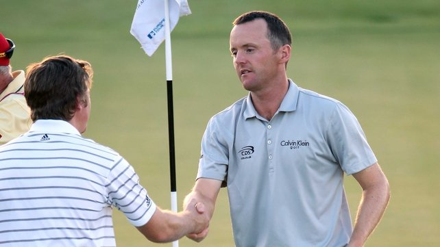 Michael Hoey (r) landed birdies from the tenth to the 16th holes for a seven-under-par 65